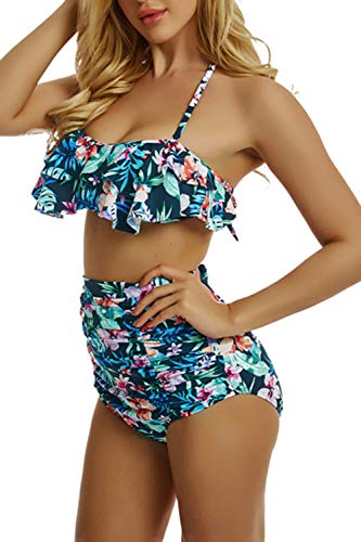 Sexy Bikini Damen High Waist Bademode Neckholder Bikini mit Grüne Blume Badeanzug Damen Bikini Set Zwei Stück Rüschen Tankini Set Bademode mit Shorts -