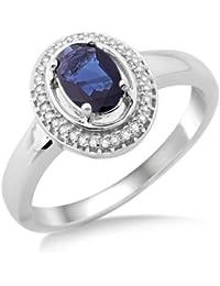 Miore Damen-Ring 9 Karat (375) Weißgold 33 Diamanten und Saphir SH019RR-p