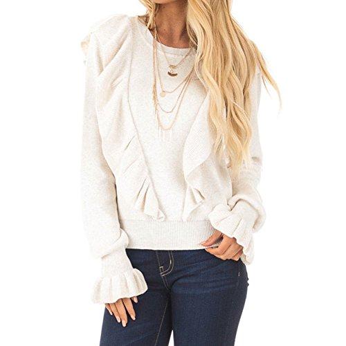 Damen Mode Bluse Elegant Einfarbig Flare Ärmel Oberteile mit Rüschen Langarmshirts Runder Kragen Bluse Herbst Frühling Casual Locker Hemd Shirt Tops S-XL (Rüschen-kragen Bluse)