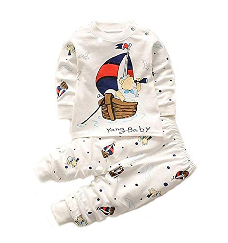 Bold N Elegant - Be Bold Inside & Elegant Outside Baby's Cotton Bear Cartoon Printed High-Waist Stripe Pyjama T-Shirt Pant Set (White, 0-6 Months)