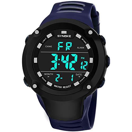 Bestow Reloj Impermeable Luminoso al Aire Libre SYNOKE Reloj Deportivo Multiuso Hombres de la Funci¨n LED Dual Digital del (Azul)