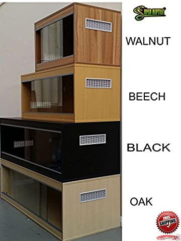 WOODEN VIVARIUM REPTILE HOME - SMALL, MEDIUM, LARGE - BEECH, BLACK, OAK, WALNUT (WALNUT, LARGE