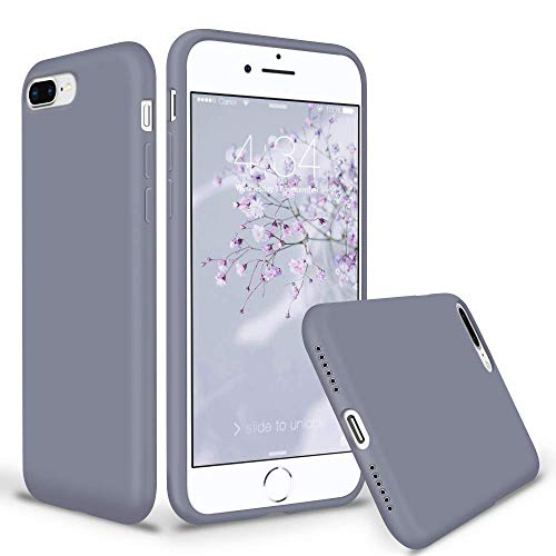 SURPHY iPhone 8 Plus Hülle Silikon, iPhone 7 Plus Hülle, Schutzschale vor Stürzen & Stößen Silikon Handyhülle für iPhone 8 Plus (2017) iPhone 7 Plus (2016), Schutzhülle 5,5 Zoll, Lavendelgrau