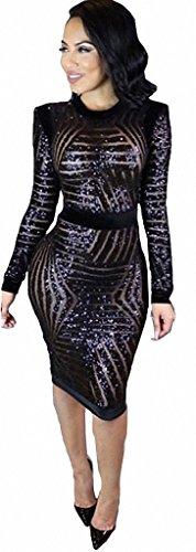 Blendend Kostüm Weißen (Frauen Schwarzen Pailletten Kleid Damen Mode Perspektive dünnes Minikleider Paket-Hüfte Party)
