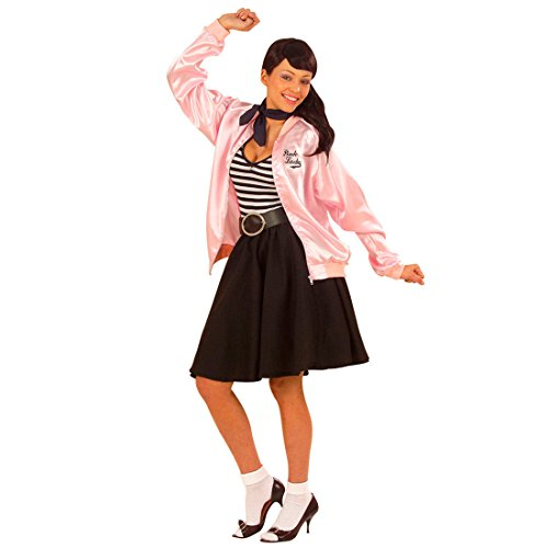 e Grease Jacket pink M/L 38 bis 44 Grease Jacke Rock n Roll Kostüm Pink Lady Trainingsjacke ()