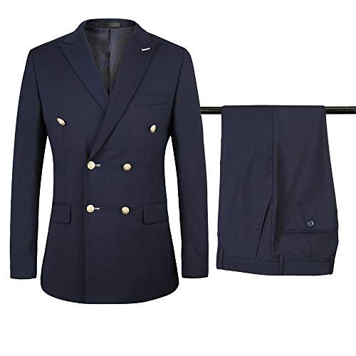 Anzug Herren Zweireiher Slim Fit Blazer Jacke & Hosen Revers Blau/Braun/Schwarz Business Anzüge 2-Teilig