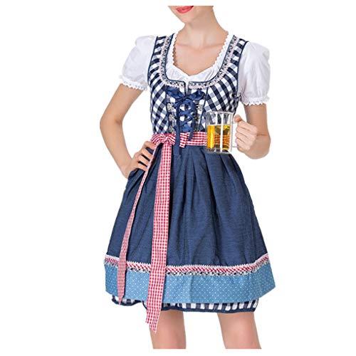 UFODB Oktoberfest Damen Dirndl Trachtenkleid Kleid Bluse Gitter Schürze Mini Karneval Klamotten Slim Fit mit Spitze Taille Kostüm Trachten-Kleid Kurz Bayern Damenkostüm