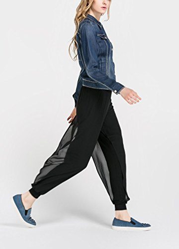 WanYang Donna Gamba Larga Pantaloni Plus Size Pantaloni Tinta Unita Pantaloni Della Vita Anca Pantaloni Lunghi Nero