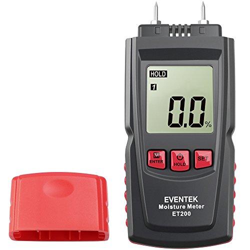 Eventek Feuchtemesser mit 2 Pins Sensor Digital Holzfeuchtemessgerät Feuchtigkeitsmessgerät für Wände, Brennholz, Holz, Estrich, Beton und weitere Baumaterialien Feuchtigkeits Detector