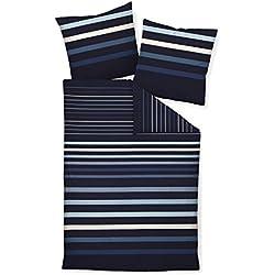 Janine Mako Satin Bettwäsche 2 teilig Bettbezug 135 x 200 cm Kopfkissenbezug 80 x 80 cm J. D. 87033-02 Blau