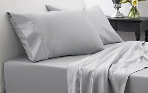 Dreamz Lenzuola Super Morbido 600 Thread Count Count Count Elegante Finitura con Angoli (Profonda Tasca  38,1 cm) UK Singolo, Grigio argentoo Massiccio, 600TC 100% Cotone Extra Tasca Profonda Lenzuolo sotto 0b9a2b