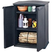Keter - Cobertizo mini, 2 estantes ajustables, carga por estante 20 kg,