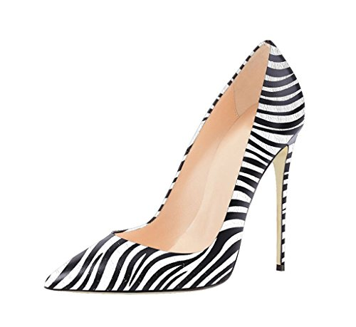 EDEFS Damen Hoch Absatz Pumps Spitze Zehe Elegant High Heels Schuhe Zebra