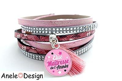 Bracelet manchette Cadeau pour Maîtresse! - rose noir gris cabochon étoiles pompon rose