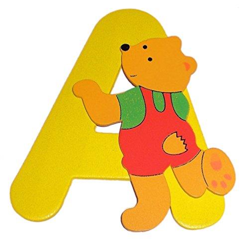 Bieco - Holzbuchstabe A, gelb, Bär-Design