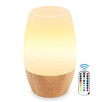 Danolt LED Night Light, Table Bedside Lamps for Bedrooms Living Room, Soft Silicone Lampshade, Hard Wooden Base, 4 Brightness and 16 Colors Control by Remote, UK Plug.