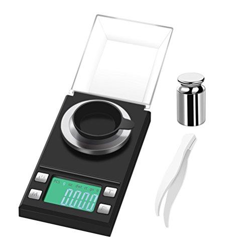 Accuracy Taschenwaage (Präzise von 0,001 g bis 50 g), Cusine Scale, Schmuckskala Milligramm Digital Medicines mit LCD-Display und Tara-Funktion (Schwarz)