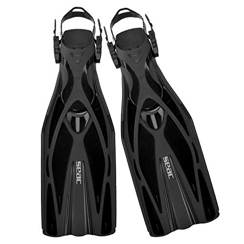 Seac Unisex - Erwachsene F1 Ultra Light Underwater Fins, only 730 Grams for High Performance in Diving, Adjustable Strap, schwarz, 43/45