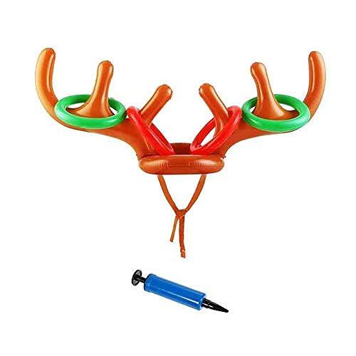Eudsa Vasd Weihnachten Aufblasbare Rentiergeweih Hut Ringwurf Spiel Elch Requisiten für Familien-Kinder Büro-Weihnachtsspaß-Spiele (1 Satz) -