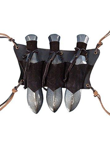 Leder LARP Gürtelhalter aus Leder für 3 Wurfmesser Holster Schwarz oder Braun Gürteltasche Mittelalter Wiking (Schwarz)