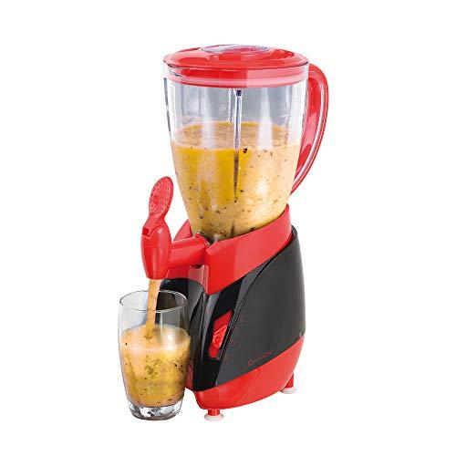 Standmixer mit Zapfhahn Mixbehälter 1,5 Liter Smoothie-Maker Entsafter (Blender, Mixer, 350 Watt, Milchshaker, Cocktail-Maker, Rot)