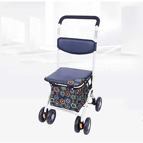 Rollator Walker-korb (Zusammenklappbarer Lebensmitteleinkaufswagen mit Sitz, Drive Medical Walker mit Korb und Bremsen, Rollatorwagen mit hochklappbarer, abnehmbarer Rückenlehne und gepolstertem Sitz (Farbe : A))