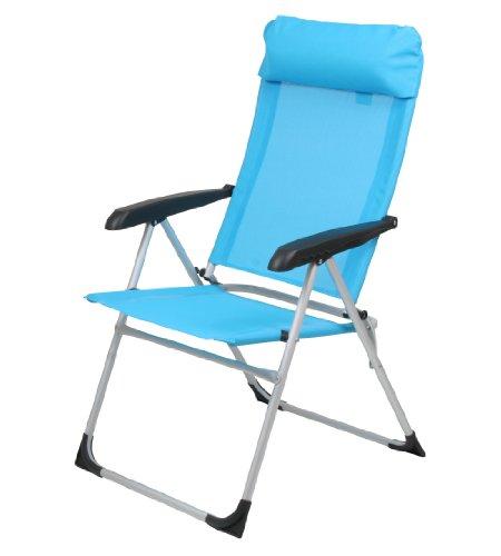10T Alu Campingstuhl Camperchair XL Klappstuhl mit Kopfpolster & verstellbarer Rückenlehn