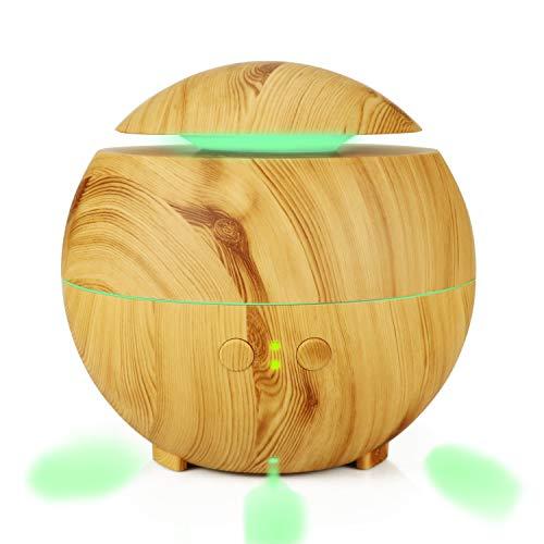 YWXR Kugel Aroma Diffusor Luftreinigungsapparat Ätherische Öle Können Hinzugefügt Holzmaserung Aromatherapie Maschine Luftbefeuchter ohne Wasser Automatische Abschaltung 600ML,Lightcolor