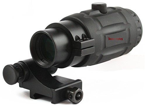 TAC Vector Optics Rubber Armored 3x Magnifier for Holographic Red Dot Sight Scope with Flip to Side QD Weaver Mount Color Black by TAC Vector Optics