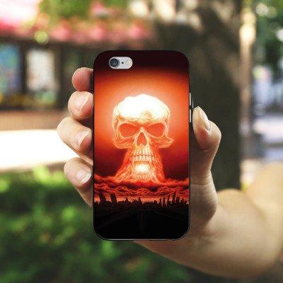 Apple iPhone 5 Housse Étui Silicone Coque Protection Explosion Tête de mort Ville Housse en silicone noir / blanc