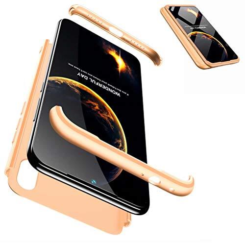 JJWYD Handyhülle für Redmi Note 7 Hülle + Displayschutzfolie Extra Dünn Ultra Slim Leichte Stoßfest Feine Matte Cover Schutzhülle Schale Hardcase - Gold