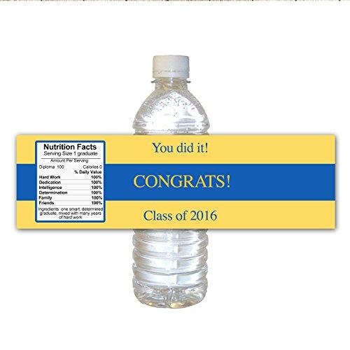 30waterproof Water Bottle Labels University College evento laurea Class of 2016Congrats party favor idea regalo