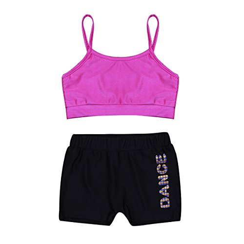 Agoky Mädchen Zweiteiler Sport Tankini Crop Tops Shirt Bauchfrei mit Sport Shorts Tights Leggings Kurze Hose Ballett Tanz Workout Outfit Kleidung Set Rose&Schwarz 152/12 ()