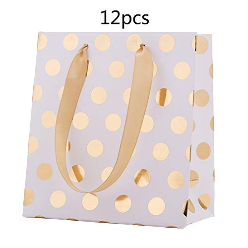 ket Kleine Papier Party Taschen, Geschenk und Süße Taschen mit Griffen, Party Favor Polka Dot, 14 * 7 * 15 cm(Gold) ()