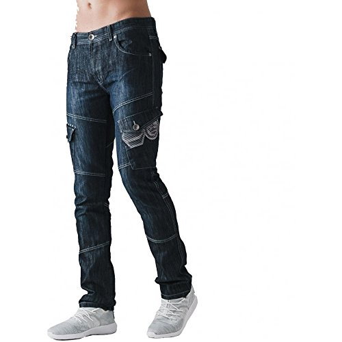 Men Designer New Crosshatch Sandblast Denim Button Fly Regular Fit Cargo Jeans