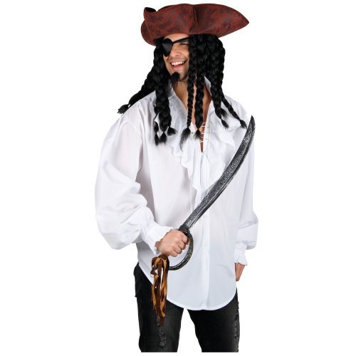 White Pirate Shirt Mens Fancy Dress High Seas Buccaneer Adults Costume Accessory
