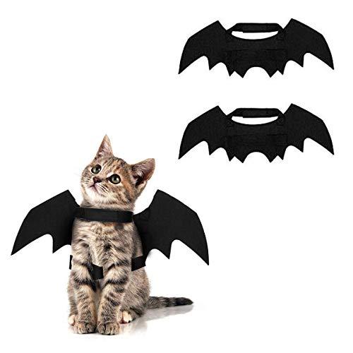 Pet Kostüm Fledermaus - Bigbigjk 2 Stücke Halloween Katzen Kostüm Katzen Kap Fledermaus Flügel Halloween Requisiten Haustier Hund Katze Fledermaus Kostüm Flügel Cosplay