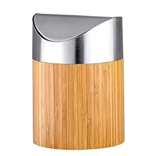 Axentia Bonja Cosmetic Bin Made of Bamboo and Stainless Steel Matt Brushed Swing Lid Small Cosmetic Mini Bin with Insert Bathroom Waste Bin 0.8 Litre, Silver/Wood, 12 x 12 x 16.5 cm