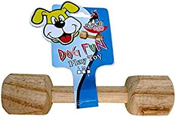Foodie Puppies Wooden Dumbbell Training Dog Toy - LARGE