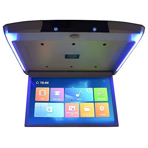 Hahaiyu Auto Flip Down Monitor Android 17.3 Zoll Unterstützung Mini HDMI Bluetooth HD 4K Multifunktions mit Fernbedienung Licht Auto TV Display WiFi,Gray (Flip-down-auto-tv)