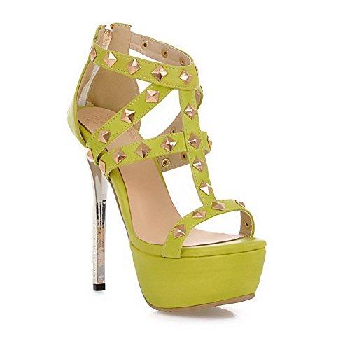 balamasa Mesdames clouté Rivet High-Heels Matière souple Sandales green