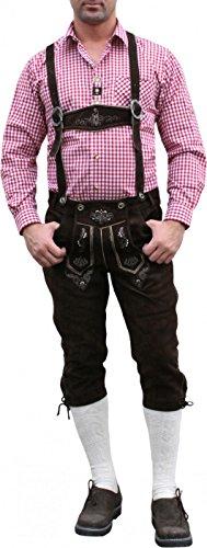 German Wear, Trachten Lederhose Kniebundhose trachtenhose Hose mit Hosenträger, Größe:52;Farbe:Dunkelbraun