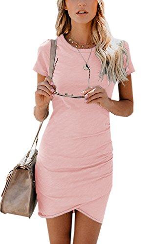 ECOWISH Damen Enges Kleid Sommerkleid Rundhals Kurzarm Kleid Bodycon Unregelmäßig Minikleid Rosa L (Damen Kleider)