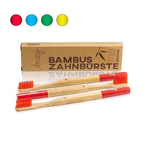Amazy Bambus Zahnbürste (3 Stück | Rot) – Die nachhaltige Holzzahnbürste für eine natürliche Zahnpflege und Zahnreinigung