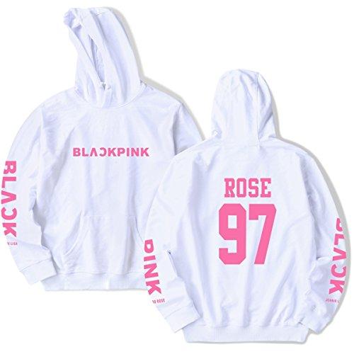 SIMYJOY Lovers Regalo di San Valentino Pullover BLACKPINK Felpe con cappuccio Hip Hop Felpa KPOP Felpa Top per Uomo Donna Adolescente bianco Rose 97