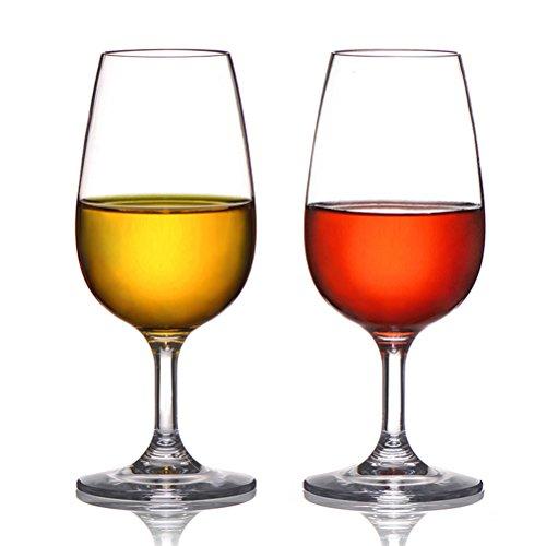 Kuke unzerbrechlich rot Wein Gläser, 100% Tritan Kunststoff Weingläser für Party, BPA-frei, Spülmaschinenfest, 7,5oz (220)/Set von 4 7.5 OZ 2Teile - Becher Camper Happy