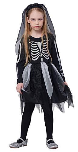 IKALI Kinder Skelett Kostüm, Mädchen Halloween Overall Kleid unheimlich Bekleidung Langarm für Karneval-Party, - Unheimliche Kostüm Mädchen