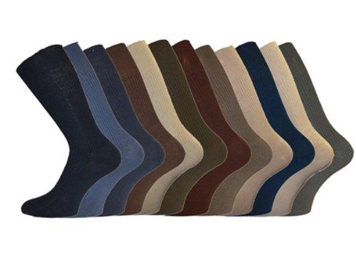 Mens Aler 12pk Softop Loose Soft Wide Grip Non Elastic Ribbed Cotton Socks 12pk (Mixed) 6-11