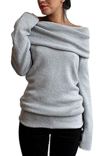 Les Femmes Lautomne Long Manche Bateau Cou Heaps Col Knitwear Chemise Dessus. gray