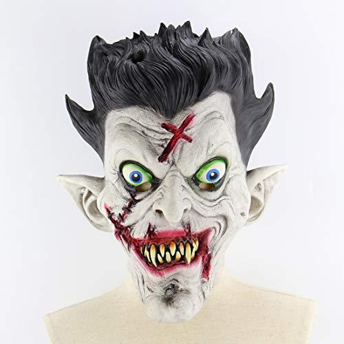 ngstigend Vampire Latex Volle Gesicht Maske Blutigen Mund Spitze Ohren Cosplay Horror Masquerade Geister Partei Requisiten Für Erwachsene ()